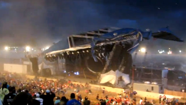 PHOTO: In this, Aug. 13, 2011 frame grab from video provided by Jessica Silas, a stage collapses at the Indiana State Fair, killing five and injuring dozens of fans waiting for the country band Sugarland to perform, in Indianapolis.