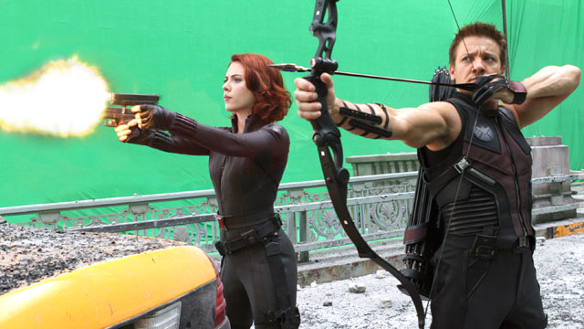 "PHOTO: Scarlett Johansson and Jeremy Renner  are shown during the filming of Marvels ""The Avengers."""