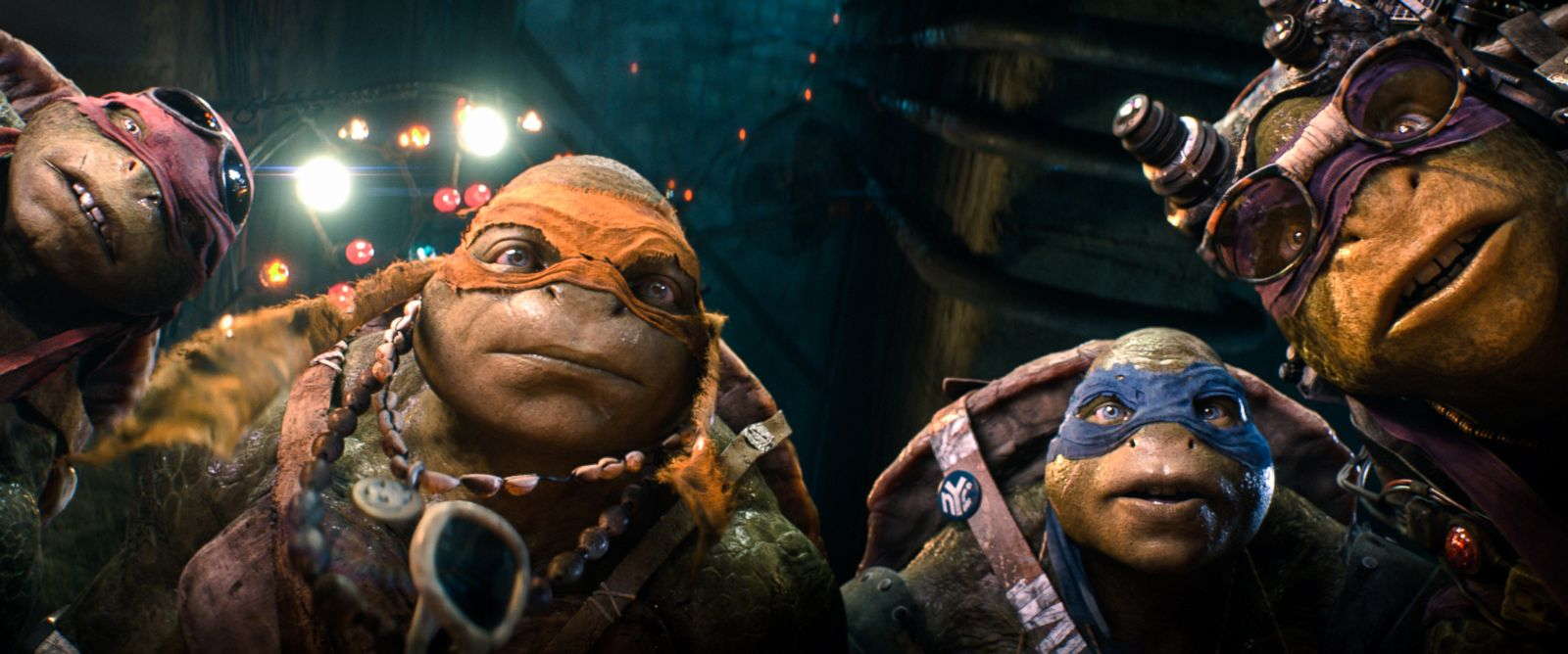 "Photo: Raphael, Michelangelo, Leonardo, and Donatello in a scene from ""Teenage Mutant Ninja Turtles."""