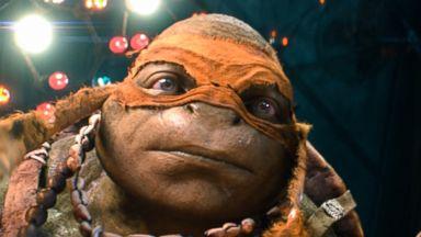 "Photo: Raphael, Michelangelo, Leonardo, and Donatello in a scene from ""Teenage Mutant Ninja Turtles."""