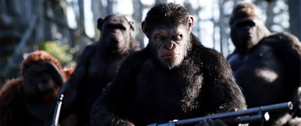 "PHOTO: Andy Serkis on the set of Twentieth Century Foxs ""War for the Planet of the Apes."""