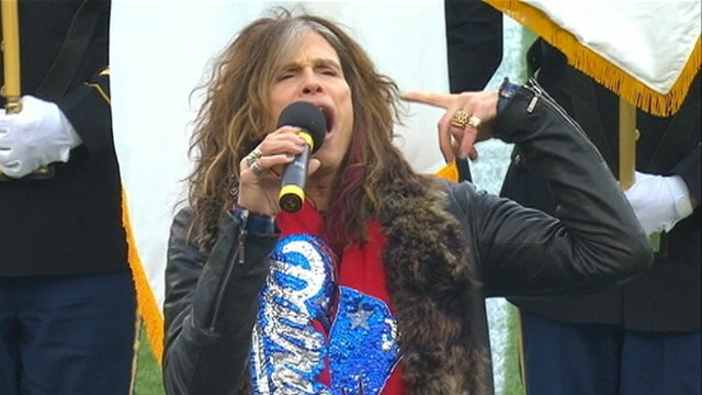 VIDEO: Aerosmith singer causes a stir with his performance before Patriots game.