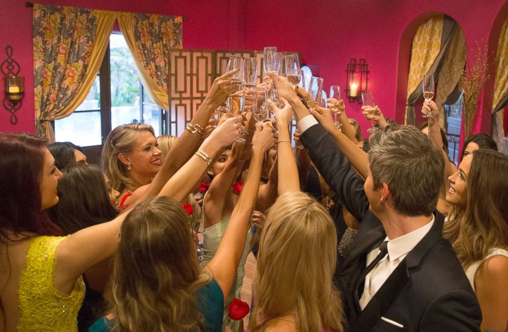 PHOTO: Arie Luyendyk Jr., at right, joining the women in a toast at the start of this seasons The Bachelor. The premiere was aired Jan. 1, 2018. ARIE LUYENDYK JR.