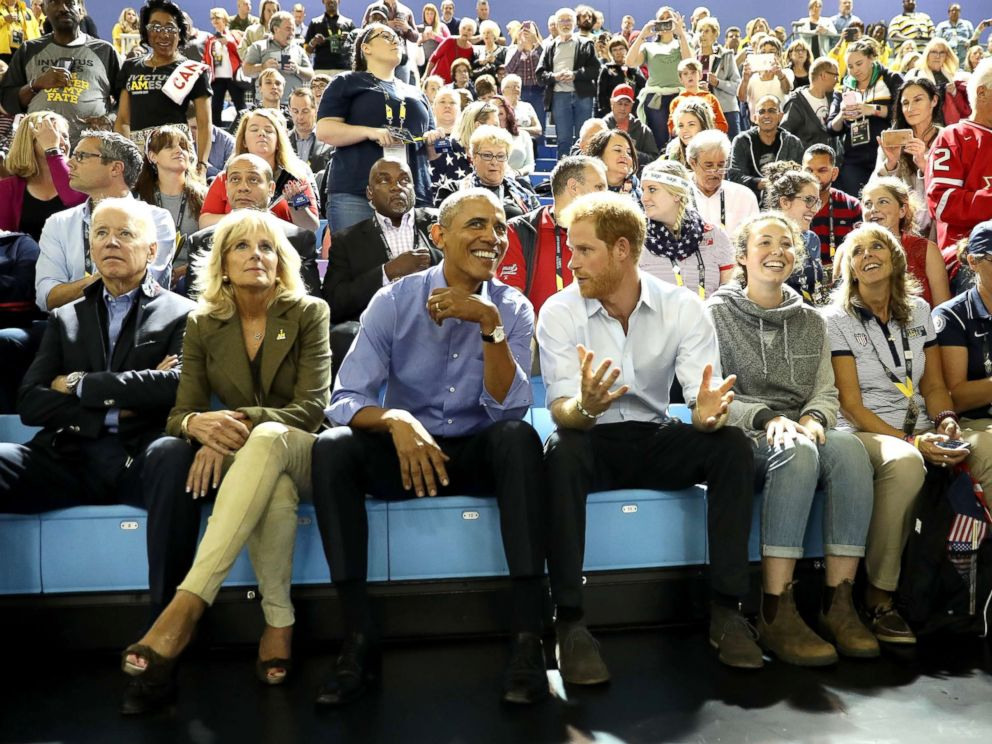 PHOTO: Pictured (L-R) are former Vice President Joe Biden, former second lady Jill Biden, former President Barack Obama and Prince Harry on day 7 of the Invictus Games 2017, Sept. 29, 2017 in Toronto.