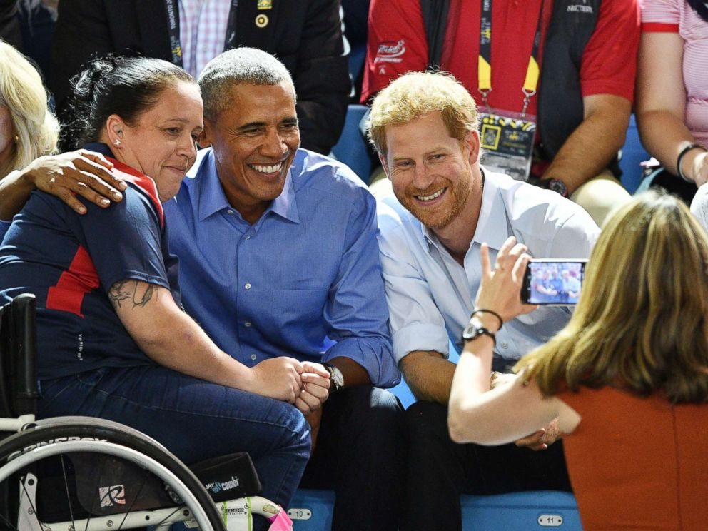 PHOTO: Prince Harry and former President Barack Obama pose for a picture while watching wheelchair basketball at the Invictus Games at the Pan Am sports Center in Toronto, Sept. 29, 2017.