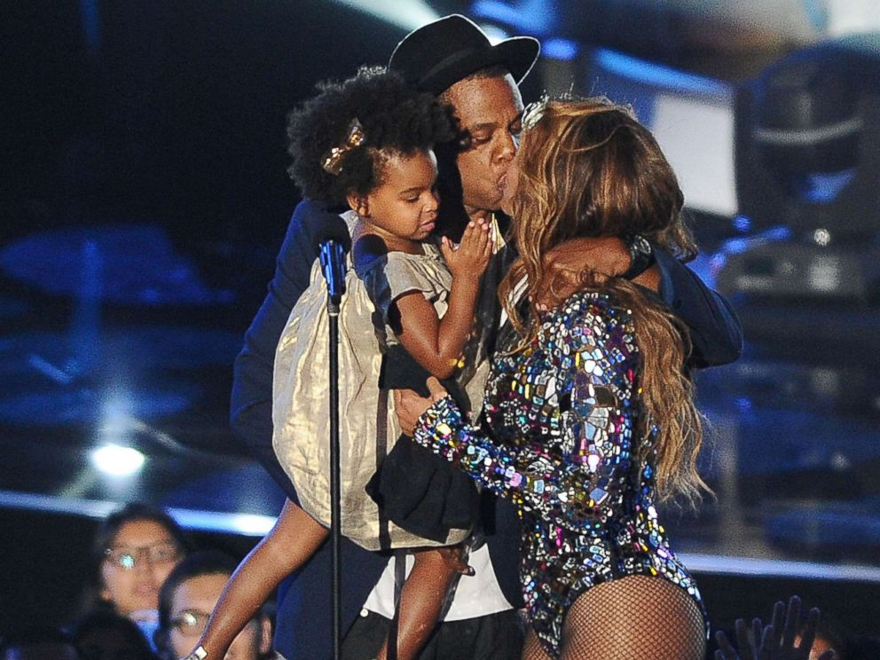 PHOTO: Jay Z, Beyonce and Blue Ivy Carter onstage at the 2014 MTV Video Music Awards at The Forum on Aug. 24, 2014 in Inglewood, Calif.