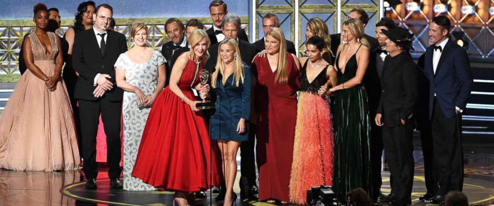 PHOTO: Shailene Woodley, Nicole Kidman, Reese Witherspoon, Laura Dern, and Zoe Kravitz speak onstage during the 69th Annual Primetime Emmy Awards at Microsoft Theater on Sept. 17, 2017 in Los Angeles.