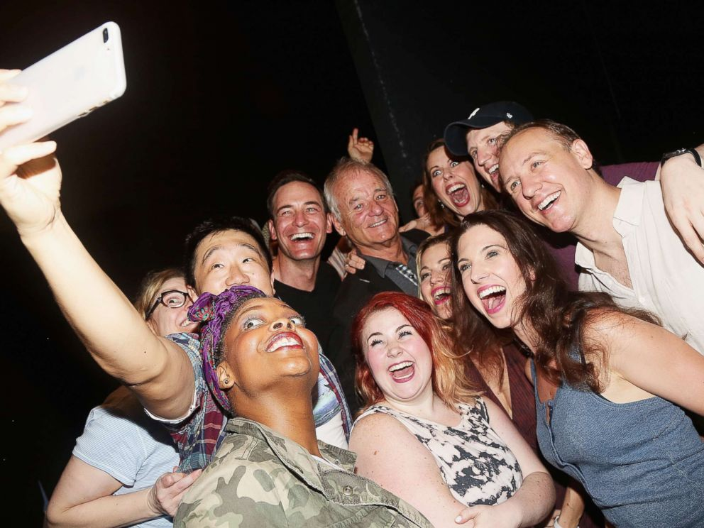 PHOTO: Bill Murray takes a selfie with the cast at the musical based on the 1993 Bill Murray film Groundhog Day on Broadway at The August Wilson Theatre on Aug. 8, 2017 in New York.