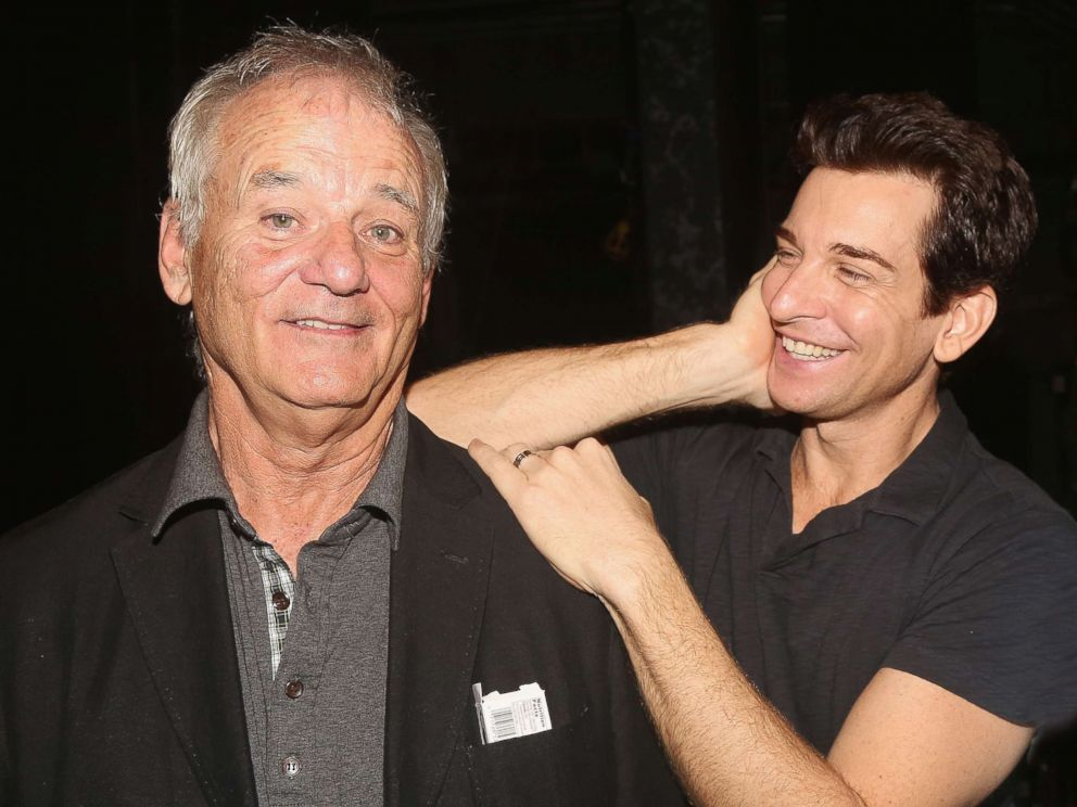 PHOTO: Bill Murray, who played Phil Connors in the 1993 film Groundhog Day, poses for a photo with actor Andy Karl who plays the role in the Broadway musical adaptation at The August Wilson Theatre, Aug. 8, 2017 in New York.