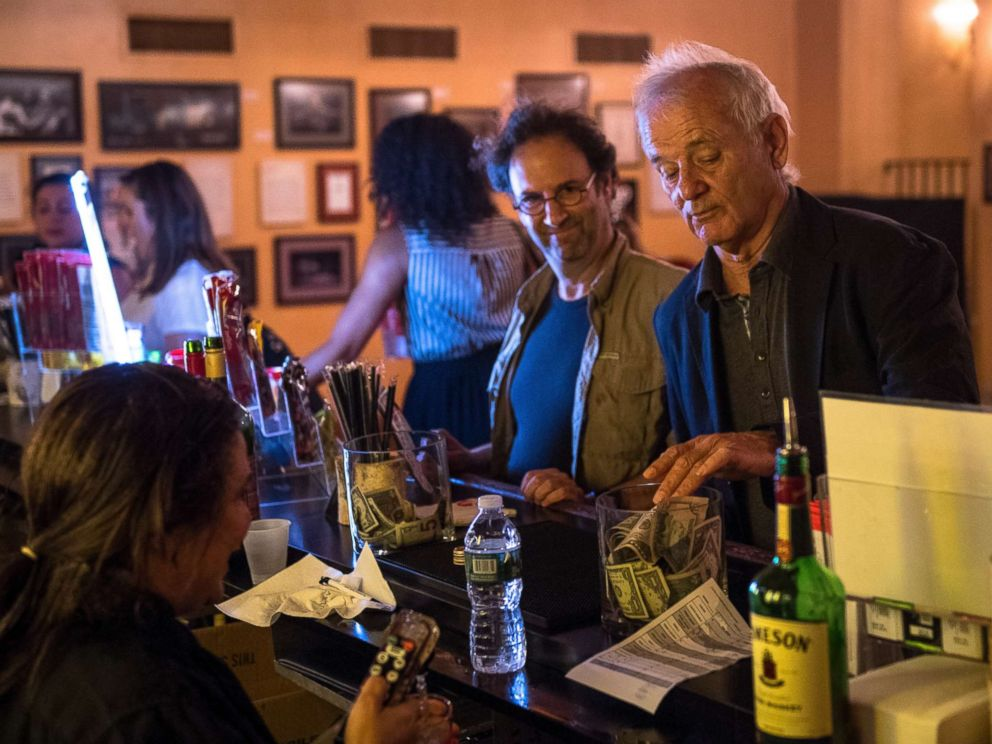 PHOTO: Bill Murray leaves a $50 tip for a glass of water before watching the Broadway musical Groundhog Day with Danny Rubin, left, at the August Wilson Theater in Manhattan, Aug. 8, 2017.