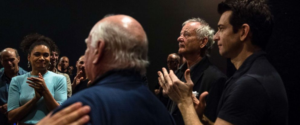 """PHOTO: Bill Murray speaks with the cast and crew of """"Groundhog Day,"""" a Broadway musical based on his 1993 movie of the same name, at the August Wilson Theater in Manhattan, Aug. 8, 2017."""