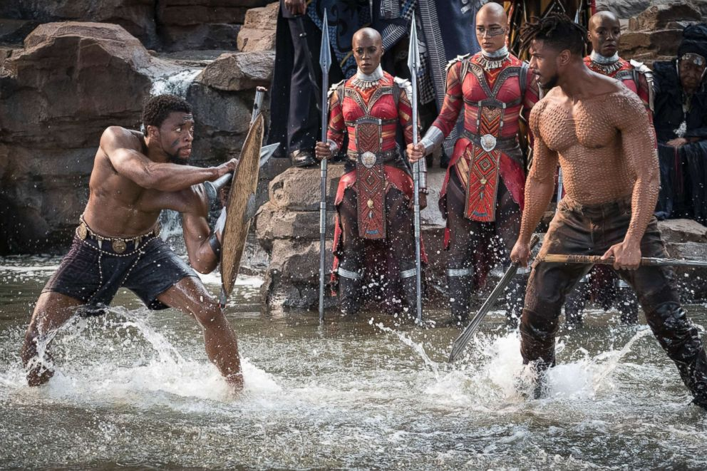 PHOTO: Chadwick Boseman and Michael B. Jordan in a scene from the movie Black Panther.