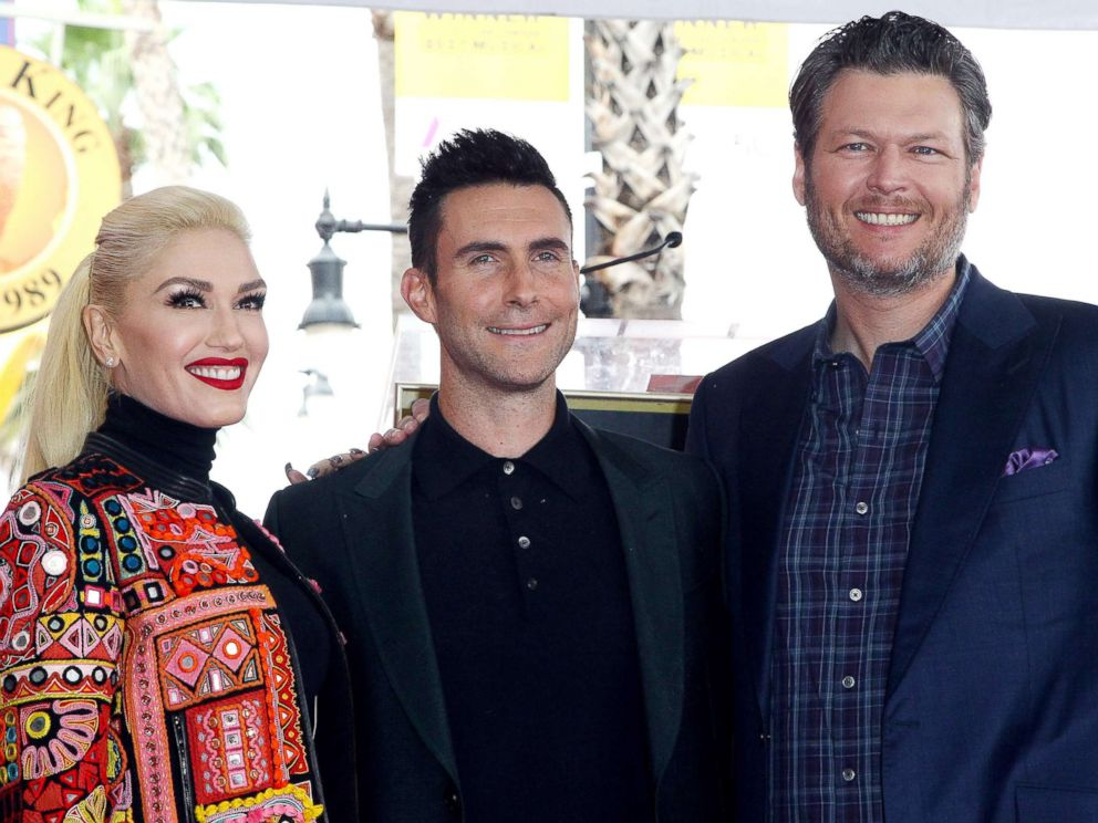 PHOTO: Gwen Stefani, Adam Levine and Blake Shelton attend a ceremony honoring Adam Levine with Star On The Hollywood Walk Of Fame on Feb. 10, 2017, in Hollywood, Calif.