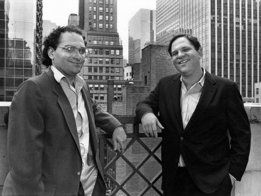 PHOTO: Producers Bob Weinstein, left, and his brother Harvey Weinstein in New York City, April 21, 1989.