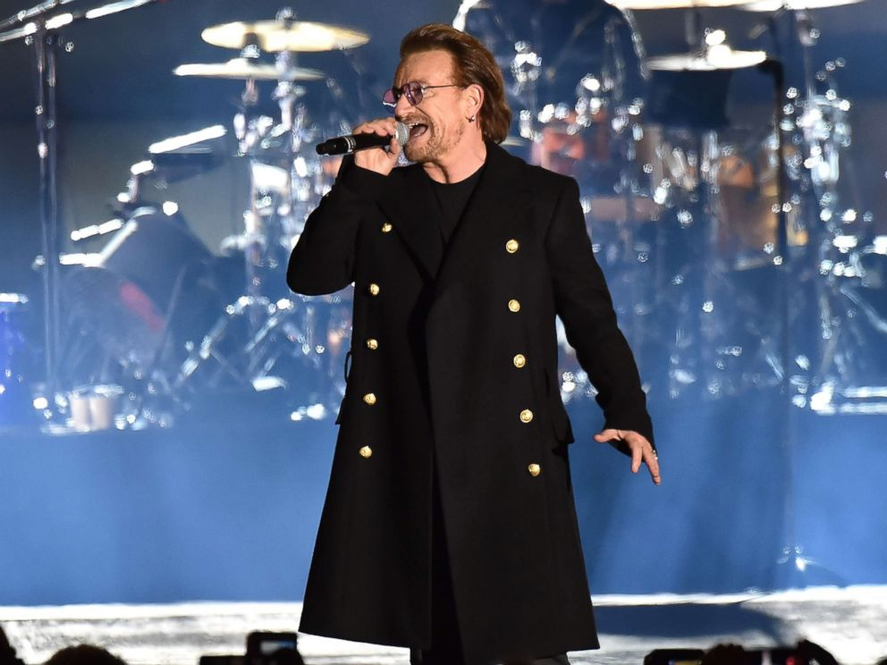 PHOTO: Bono of U2 performs during the World Stage event as part of the MTV EMAs 2017 at Trafalgar Square, Nov. 11, 2017, in London.