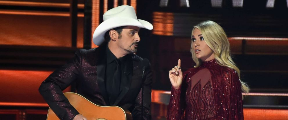 PHOTO: Co-hosts Brad Paisley and Carrie Underwood speak onstage at the 51st annual CMA Awards at the Bridgestone Arena on Nov. 8, 2017 in Nashville, Tenn.