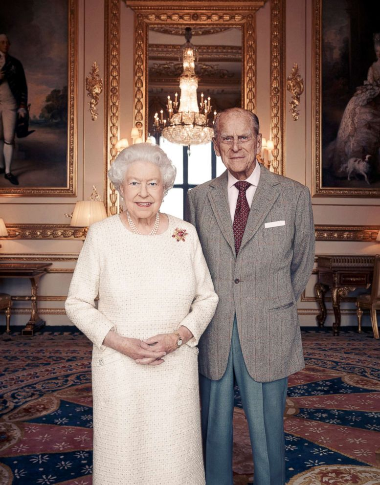 PHOTO: Britains Queen Elizabeth and Prince Philip pose for a photograph in the White Drawing Room at Windsor Castle, England in this handout photo issued Nov. 18, 2017, in celebration of their platinum wedding anniversary Nov. 20, 2017. <p itemprop=