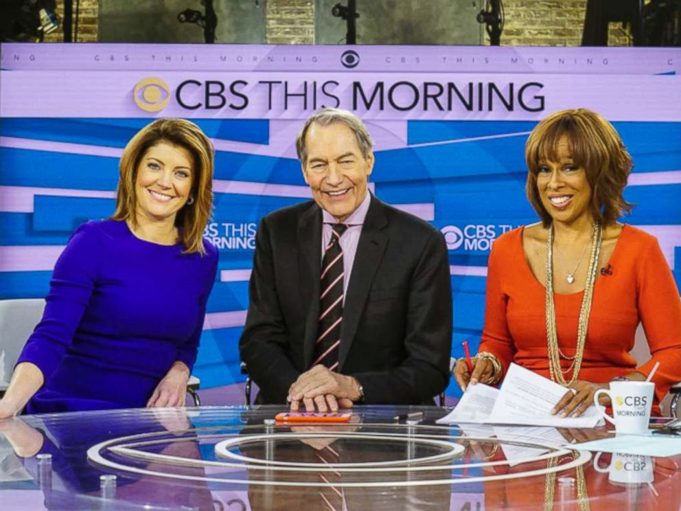 PHOTO: This image released by CBS shows, from left, Norah ODonnell, Charlie Rose and Gayle King on the set of CBS This Morning.