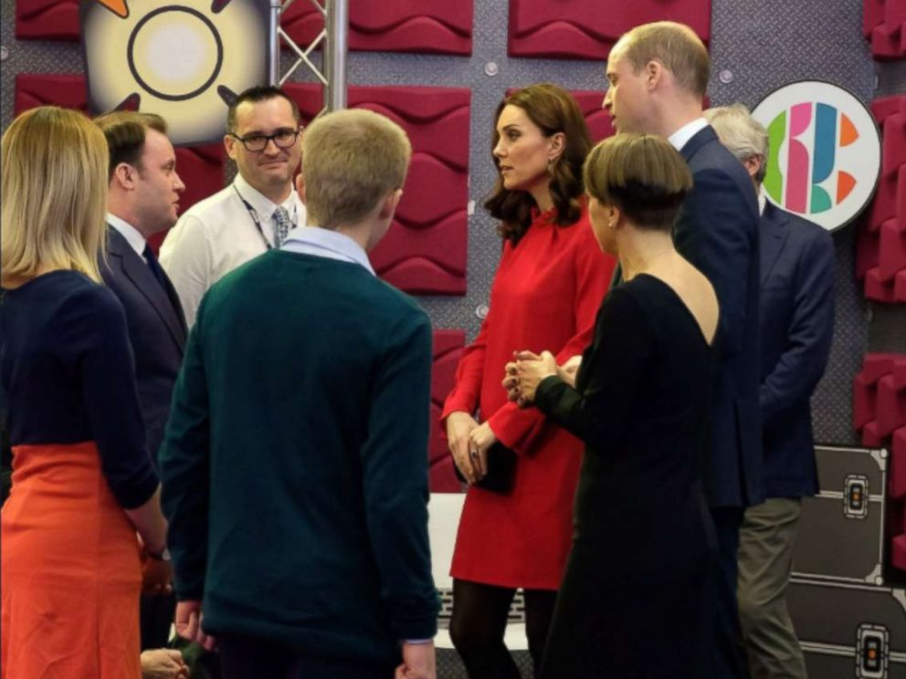 """PHOTO: Kate Middleton and Prince William visit the BBC Children's department to see how the BBC runs interactive workshops called """"Stepping Out"""" sessions during the Children's Global Media Summit in Manchester, U.K., Dec. 6, 2017."""