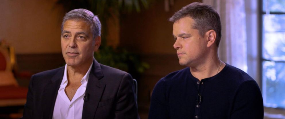 PHOTO: George Clooney and Matt Damon respond to the Harvey Weinstein scandal that is rocking Hollywood in an interview with ABC News Michael Strahan.