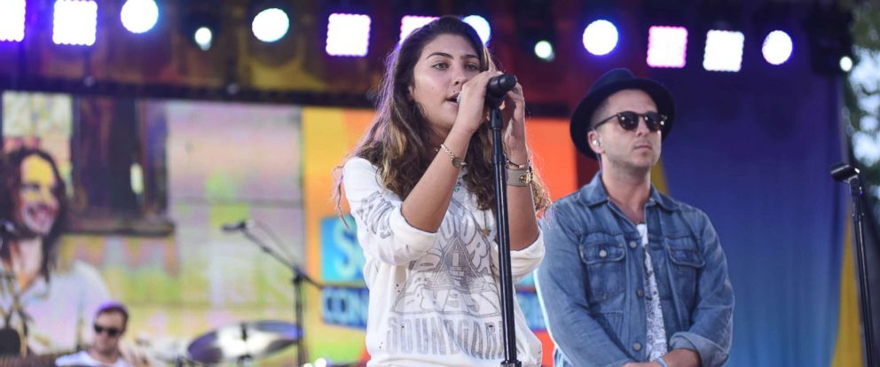 "PHOTO: Toni Cornell, daughter of the late rock star Chris Cornell who took his own life in May, joins OneRepublic to perform the song ""Hallelujah"" live on ""Good Morning America."""