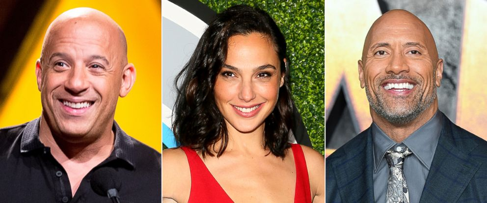 PHOTO: Vin Diesel, Gal Gadot and Dwayne Johnson are Forbes Top-Grossing Actors of 2017.