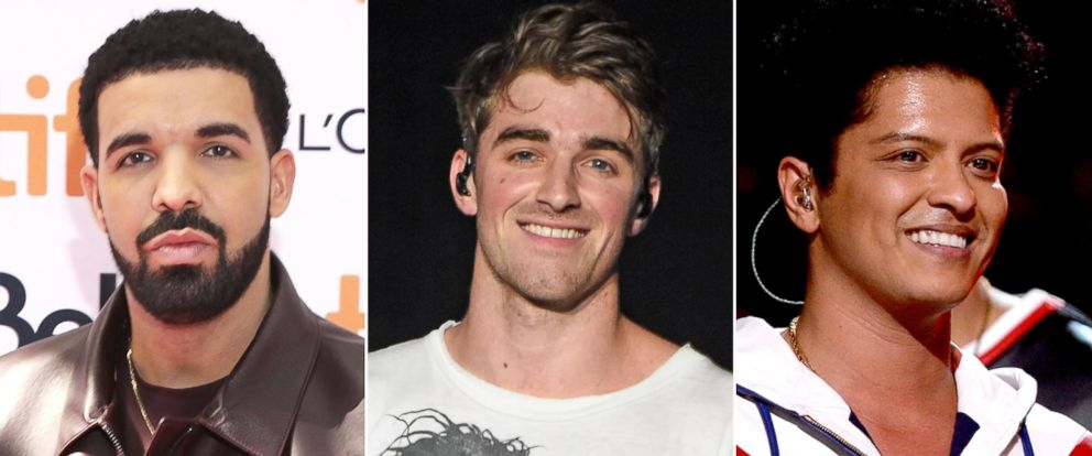 PHOTO: Pictured (L-R) are Drake in Toronto, Sept. 9, 2017, Andrew Taggart of The Chainsmokers in Louisville, Ky., May 20, 2017 and Bruno Mars in Los Angeles, Feb. 12, 2017.