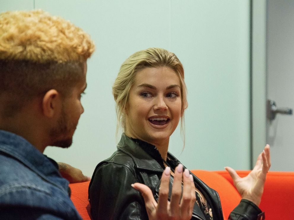 PHOTO: Jordan Fisher and Lindsay Arnold from season 25 of Dancing with the Stars talk about their experience on the show on Sept. 9, 2017.
