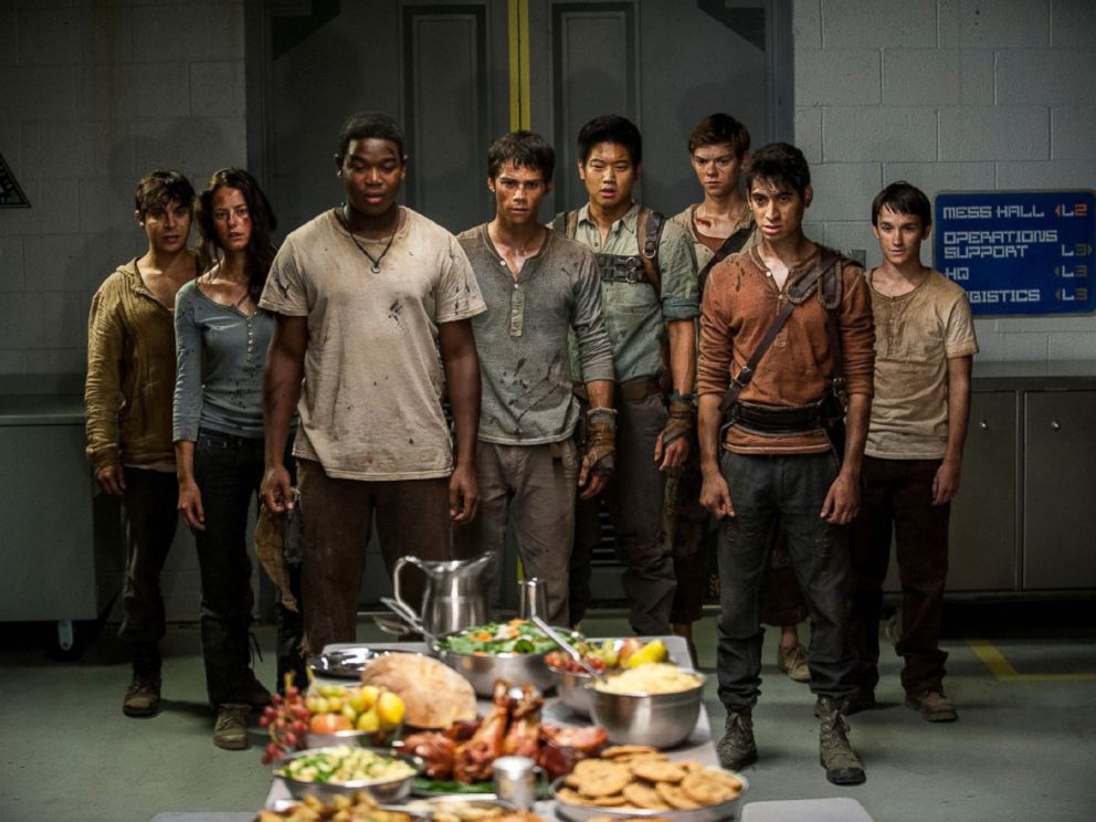 PHOTO: Dylan OBrien, center, in a scene from Maze Runner: The Scorch Trial.