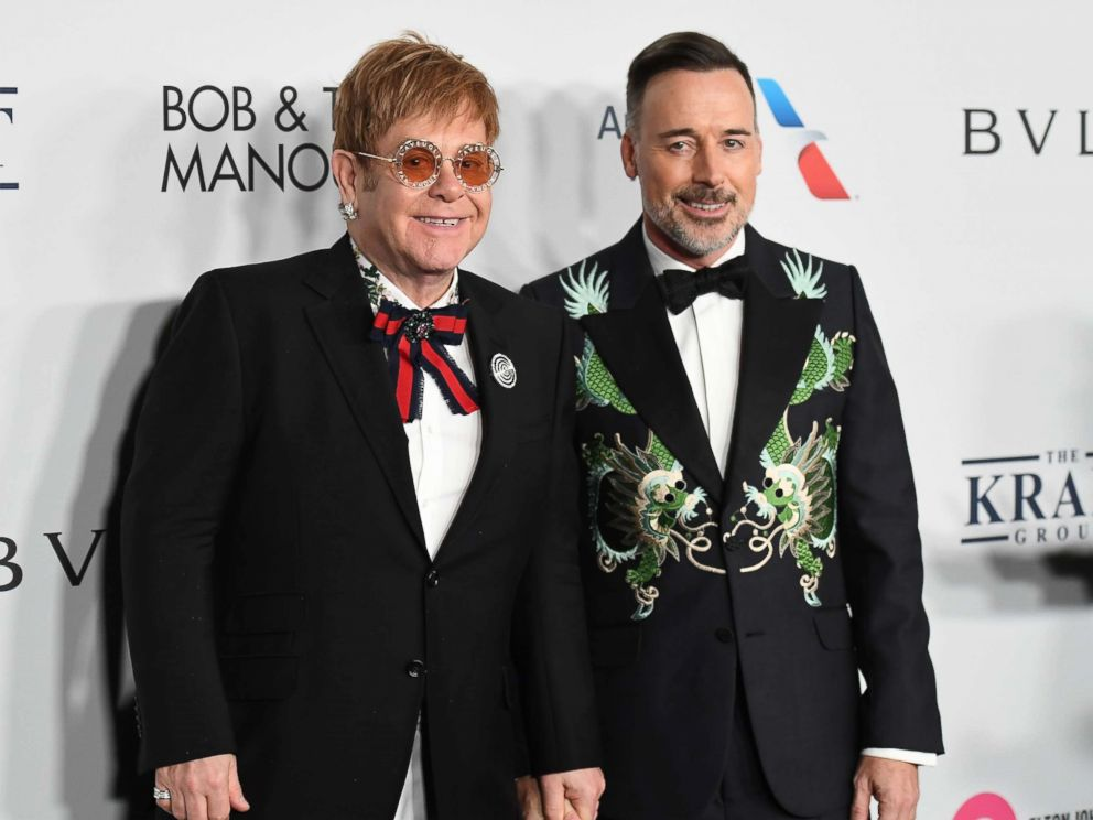 PHOTO: Sir Elton John and David Furnish attend the Elton John AIDS Foundation Commemorates Its 25th Year, Nov. 7, 2017 in New York City.