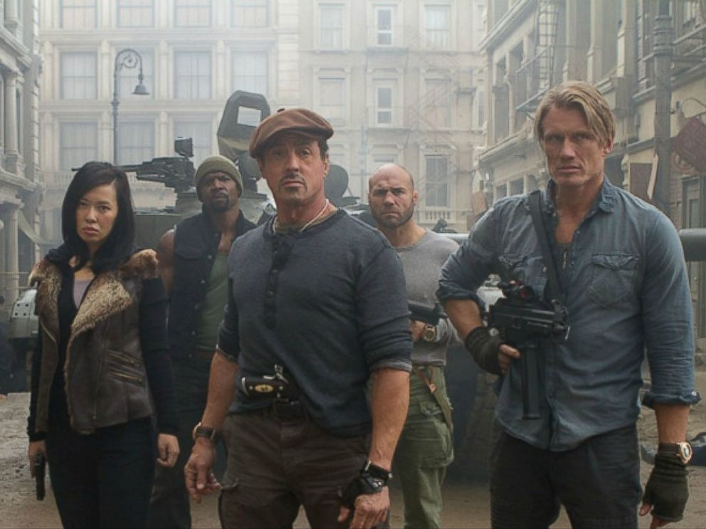 PHOTO: Sylvester Stallone, center, and Dolph Lundgren are seen in a scene from their new movie, The Expendables 2.