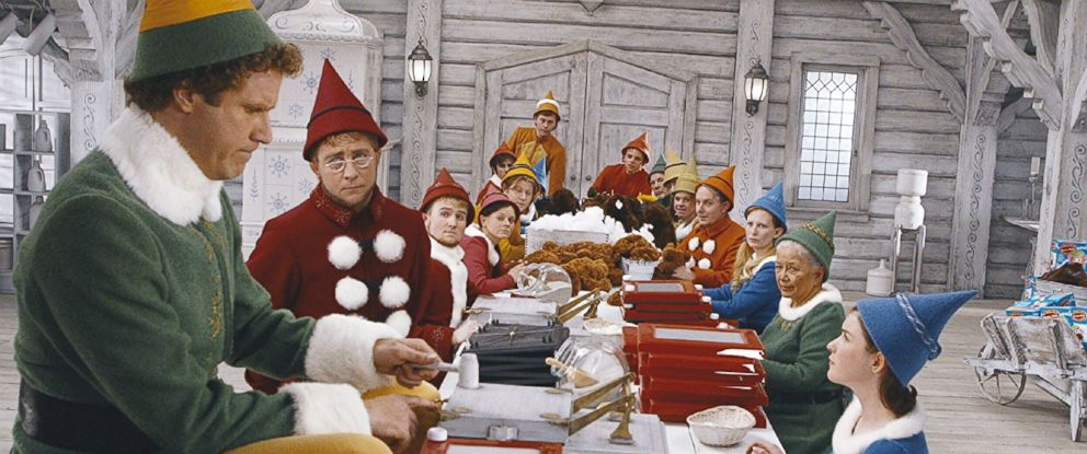 "PHOTO: Will Ferrell, Kristian Ayre, Peter Billingsley, and David Avalon in ""Elf,"" 2003."