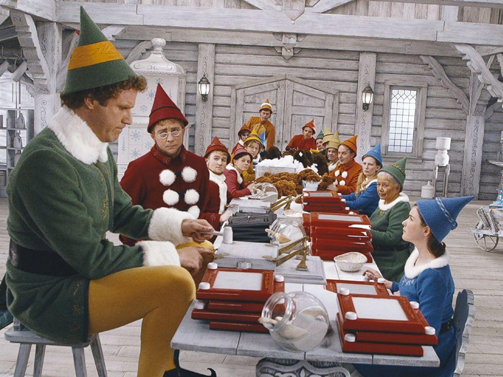 PHOTO: Will Ferrell, Kristian Ayre, Peter Billingsley, and David Avalon in Elf, 2003.