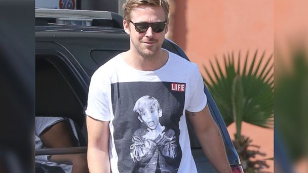 PHOTO: Ryan Gosling was spotted wearing a t-shirt with Macaulay Culkins photo on it when he stopped for gas on March 22, 2013 in Studio City, Calif.