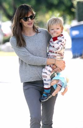 Jennifer Garner Takes Samuel Out in Pajamas
