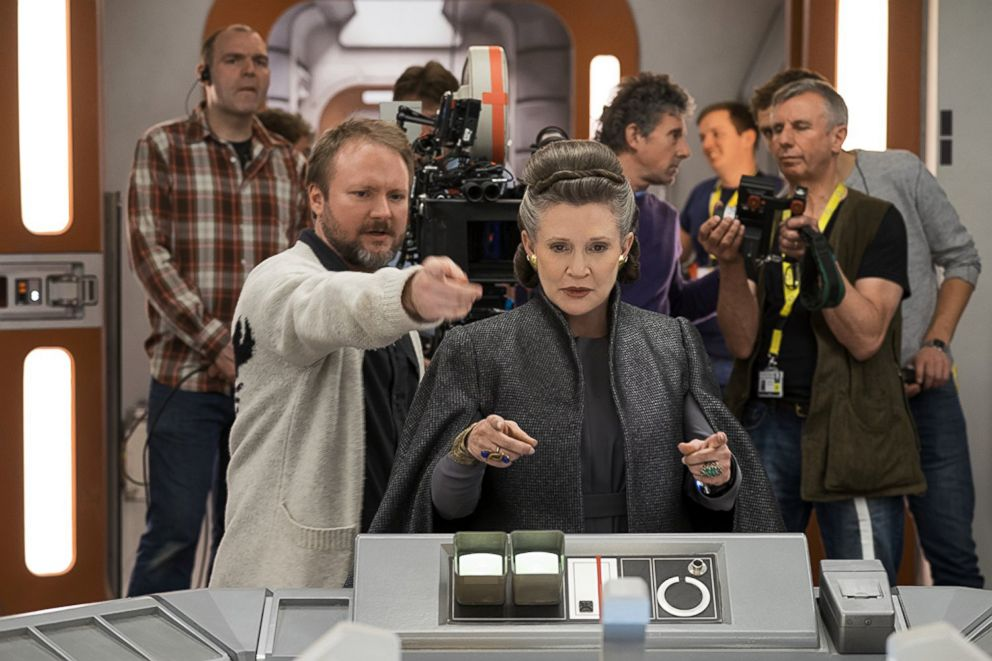PHOTO: Rian Johnson, left, and Carrie Fisher on the set of Star Wars: The Last Jedi.