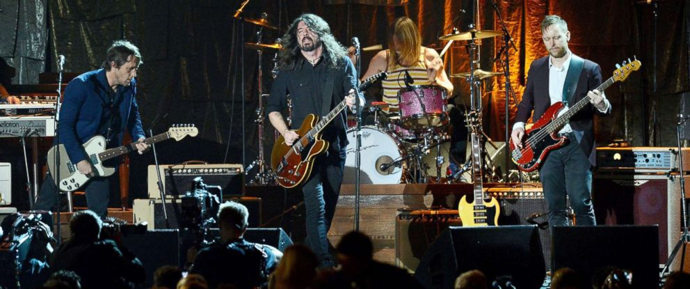 PHOTO: Chris Shiflett, Dave Grohl, Taylor Hawkins and Nate Mendel of The Foo Fighters perform on Feb. 10, 2017, in Los Angeles.