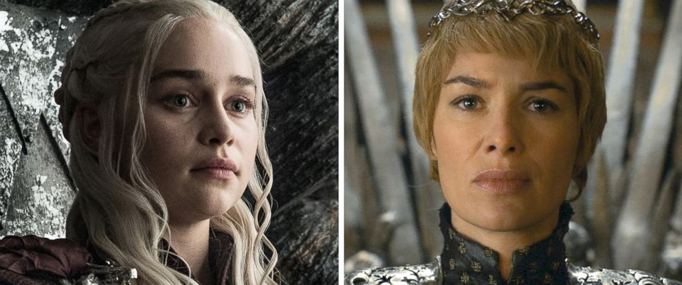 "PHOTO: Emilia Clarke as Daenerys Targaryen and Lena Headey as Cersei Lannister on the HBO series, ""Game of Thrones."""