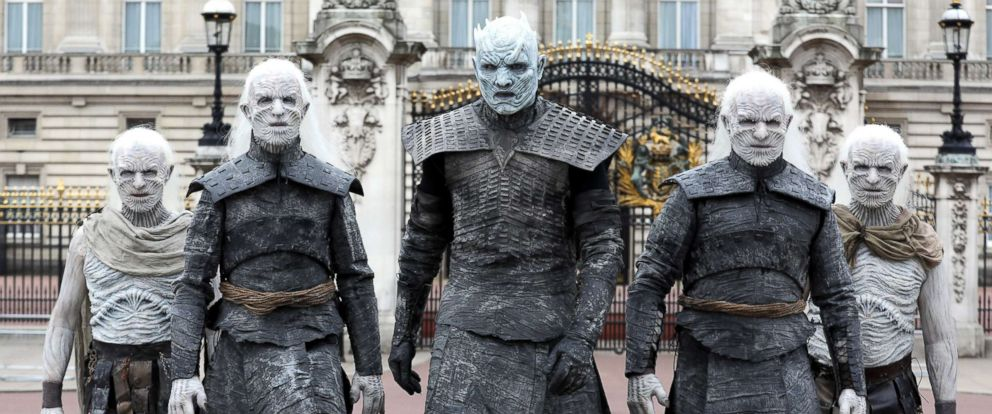 PHOTO: The Night King and White Walkers march past Buckingham Palace to promote the forthcoming Game Of Thrones season, July 11, 2017, in London.