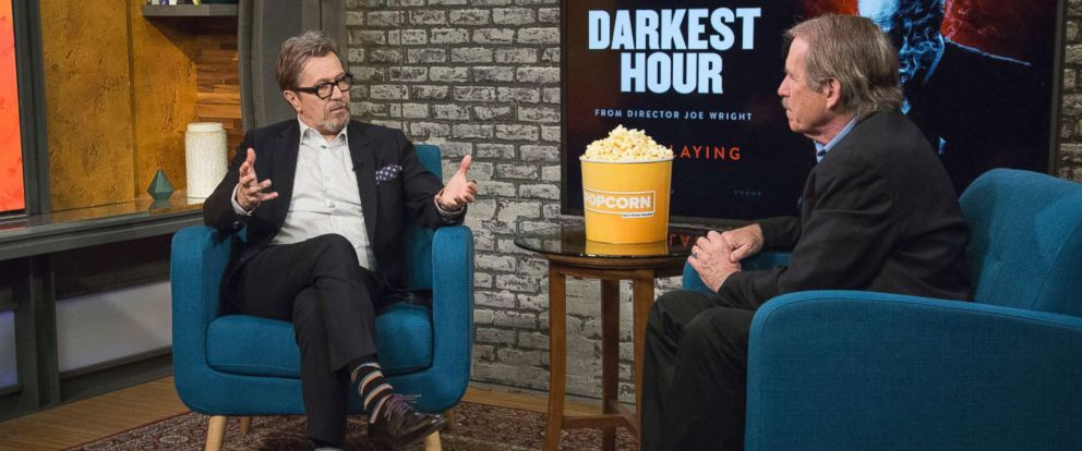 "PHOTO: Gary Oldman appears on ""Popcorn with Peter Travers"" at ABC News studios, Nov. 15, 2017, in New York City."