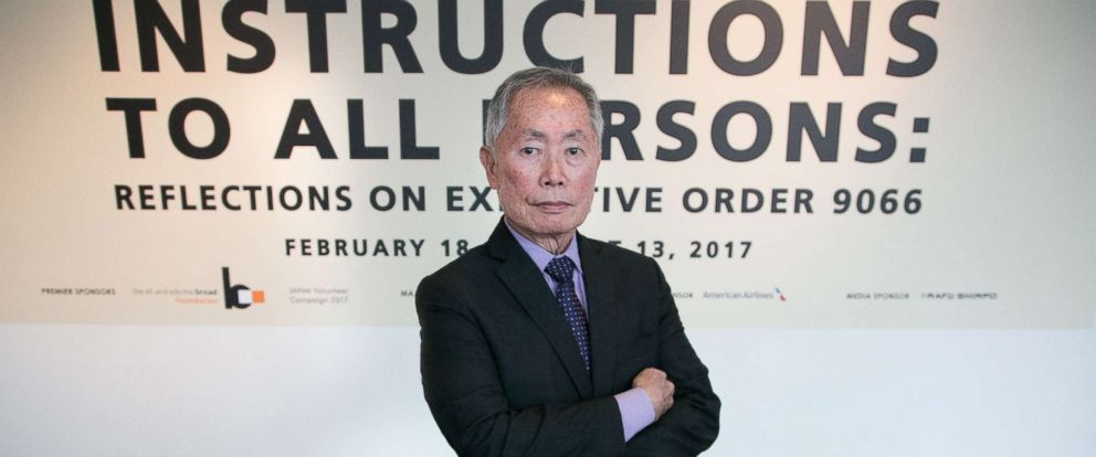 """PHOTO: George Takei attends the press conference for The Japanese American National Museums exhibition """"Instructions To All Persons: Reflections On Executive Order 9066"""" at Japanese American National Museum, Feb. 17, 2017 in Los Angeles."""