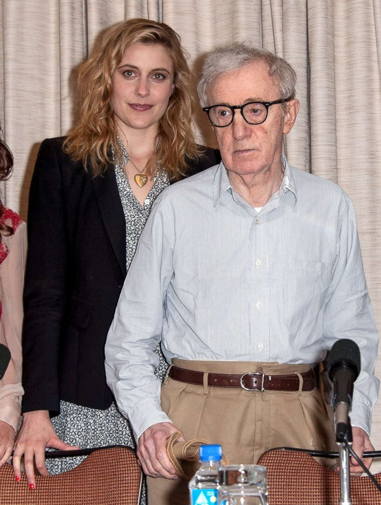 PHOTO: Greta Gerwig and Woody Allen attend the To Rome With Love press conference at the Loews Regency Hotel Ballroom on June 19, 2012 in New York.