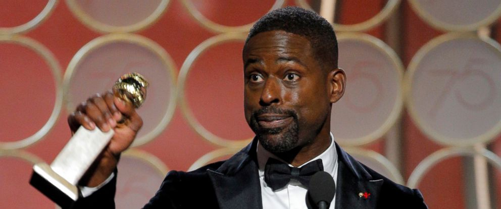 "PHOTO: Sterling K. Brown accepts the Golden Globe for his role in ""This is Us,"" Jan. 7, 2018, in Beverly Hills, Calif."