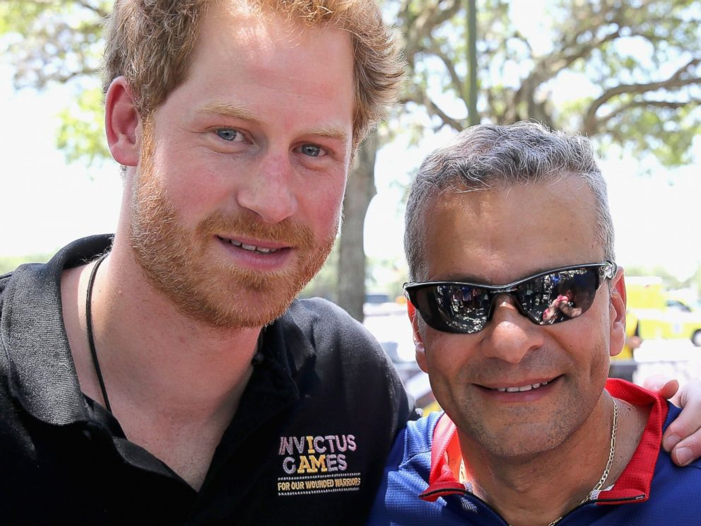 PHOTO: Prince Harry with Team USA Ivan Castro at the road cycling event during the Invictus Games Orlando 2016 at ESPN Wide World of Sports on May 9, 2016 in Orlando, Fla. rehabilitation.