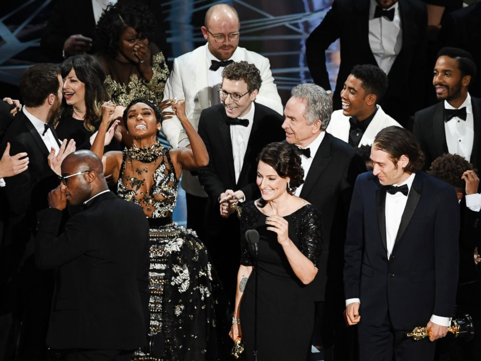 PHOTO: Producer Adele Romanski, writer/director Barry Jenkins, producer Jeremy Kleiner and cast and crew members accept Best Picture for Moonlight during the 89th Annual Academy Awards, Feb. 26, 2017 in Hollywood, Calif.