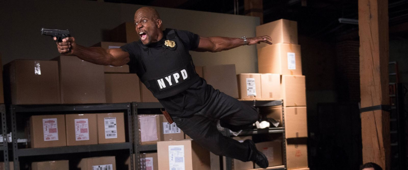"""PHOTO: Terry Crews and Andy Samberg in the """"Ebony Falcon"""" episode of Brooklyn Nine-Nine, Jan. 21, 2014."""