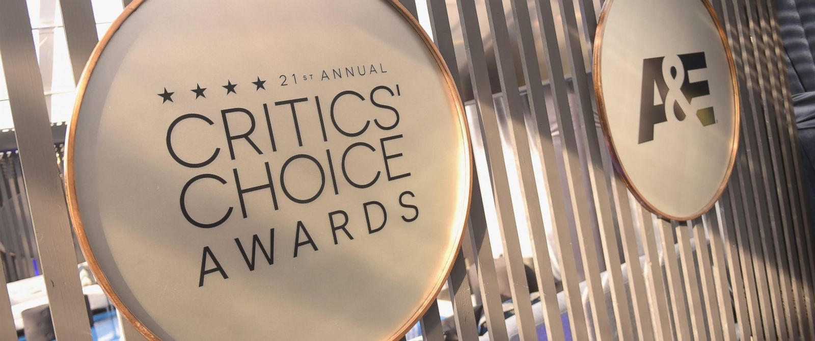PHOTO: Signage for the 21st annual Critics Choice Awards and A&E are displayed at the 21st annual Critics Choice Awards at Barker Hangar, Jan. 17, 2016, in Santa Monica, California.