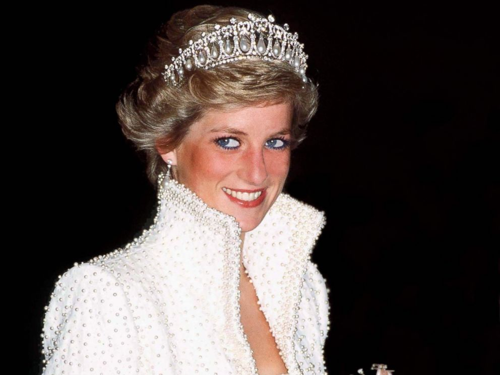 PHOTO: Princess Diana in a Catherine Walker dress and jacket dress embroidered with sequins and pearls, known as the Elvis Dress, on an official visit to Hong Kong in 1989.