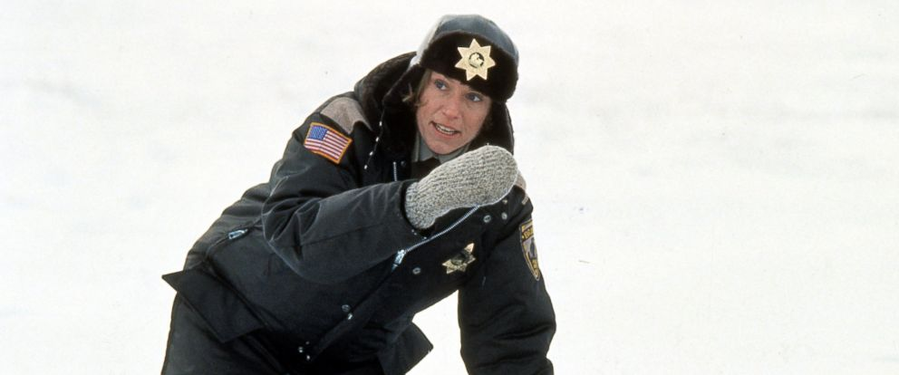 "PHOTO: Frances McDormand next to murdered officer in the snow in a scene from the film ""Fargo,"" 1996."