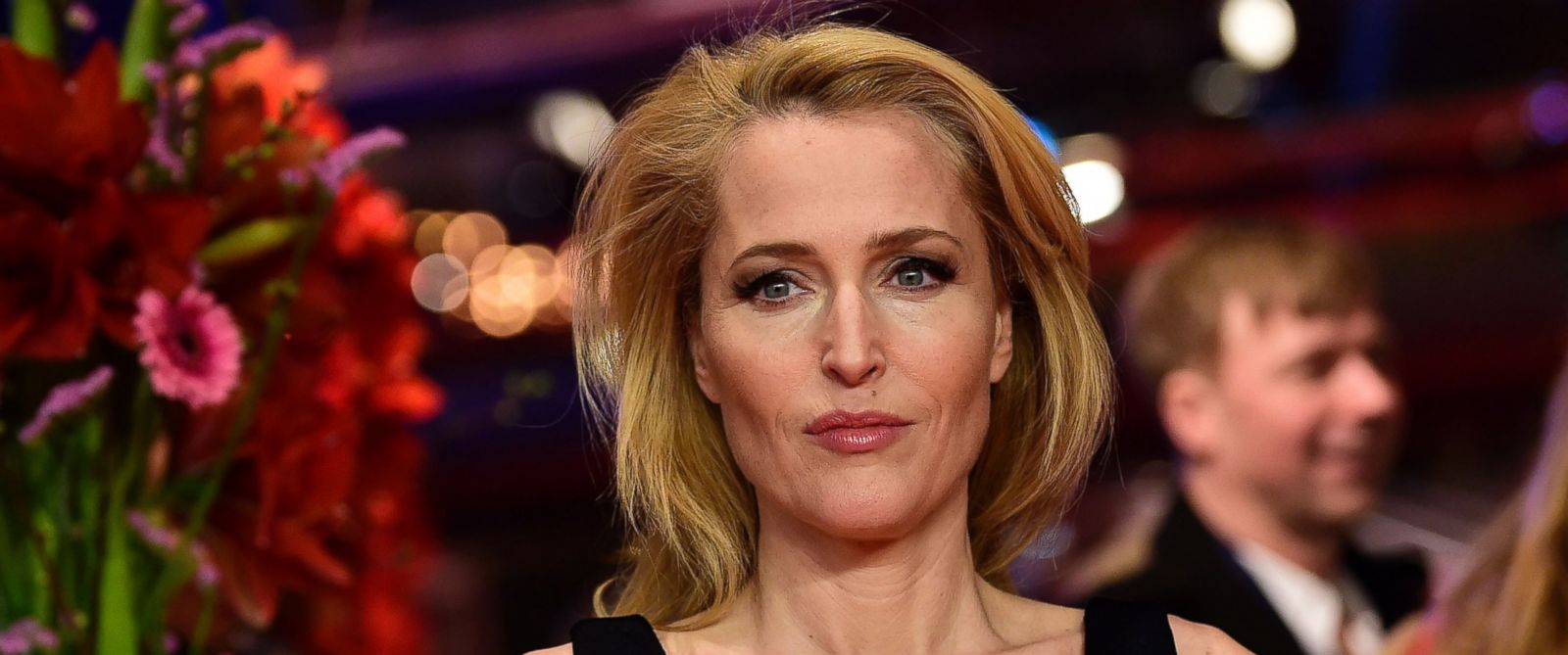 "PHOTO: Gillian Anderson arrives for the screening of the film ""Viceroys House"" in competition at the 67th Berlinale film festival in Berlin, Feb. 12, 2017."